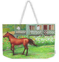 Illustrated Horse Summer Garden Weekender Tote Bag