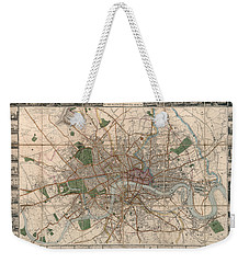 Illustrated Plan Of London And Its Environs - Map Of London - Historic Map - Antique Map Of London Weekender Tote Bag