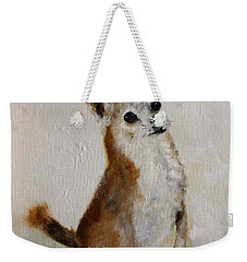 Weekender Tote Bag featuring the painting Rusty Being A Good Boy by Barbie Batson