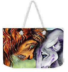 Weekender Tote Bag featuring the painting I'm In Love With You by Maria Barry