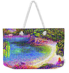 Weekender Tote Bag featuring the painting Imagine, Meditating In Beautiful Bay,seascape by Jane Small