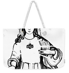 Weekender Tote Bag featuring the drawing Immaculate Heart Of Mary by Mary Ellen Frazee