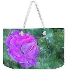 Weekender Tote Bag featuring the digital art Impasto Rose by Aliceann Carlton