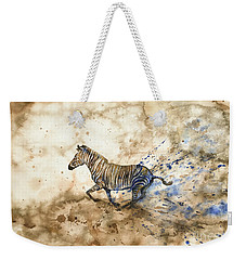 Weekender Tote Bag featuring the painting Imperial Zebra by Zaira Dzhaubaeva