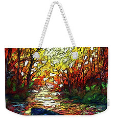 Weekender Tote Bag featuring the painting Impression Sunset Print From Olena Art Original Oil Painting #pixels   by OLena Art Brand