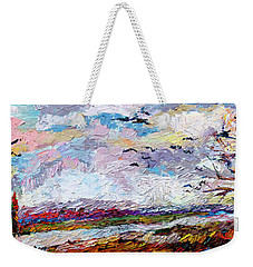 Impressionist Autumn Panoramic Landscape Bird Migration Weekender Tote Bag