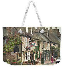 Weekender Tote Bag featuring the digital art Impressionist Corner Shops by Shelli Fitzpatrick