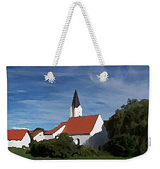 Weekender Tote Bag featuring the digital art Impressionist Country Church by Shelli Fitzpatrick