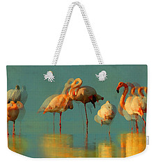 Weekender Tote Bag featuring the digital art Impressionist Flamingo Abstract by Shelli Fitzpatrick
