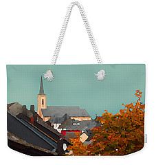 Weekender Tote Bag featuring the digital art Impressionist Village With Church Steeple by Shelli Fitzpatrick