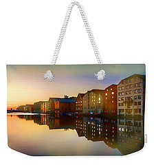 Weekender Tote Bag featuring the digital art Impressionist Waterfront View by Shelli Fitzpatrick