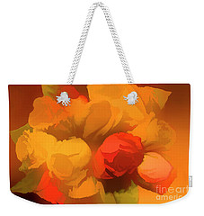 Impressionistic Gold Rose Bouquet Weekender Tote Bag by Linda Phelps