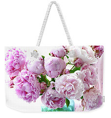 Weekender Tote Bag featuring the photograph Impressionistic Romantic Pink Peonies Watercolor Romantic Floral Decor - Pink Peony Decor by Kathy Fornal