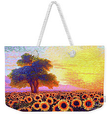 In Awe Of Sunflowers, Sunset Fields Weekender Tote Bag