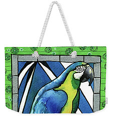 Weekender Tote Bag featuring the painting In Love With A Macaw by Dora Hathazi Mendes