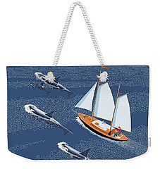 Weekender Tote Bag featuring the digital art In The Company Of Whales by Gary Giacomelli