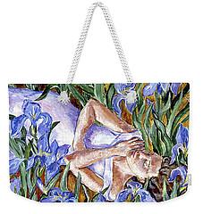 In The Iris Bed  Weekender Tote Bag by Trudi Doyle