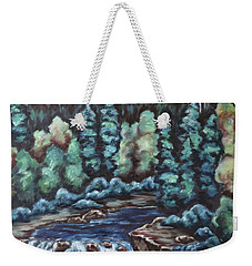 Weekender Tote Bag featuring the painting In The Land Of Dreams by Cheryl Pettigrew