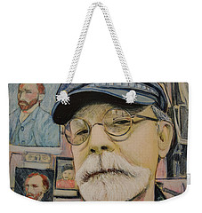 Weekender Tote Bag featuring the painting In The Studio Self Portrait by Ron Richard Baviello