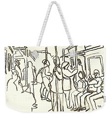 In The Subway, Nyc Weekender Tote Bag