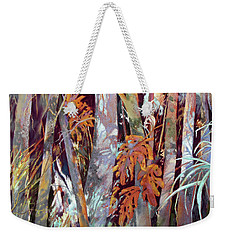 Weekender Tote Bag featuring the painting In This Land Of Fantastical Beasts by Rae Andrews