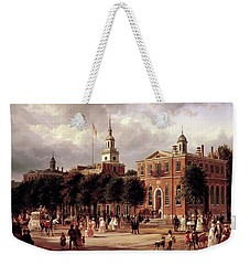 Weekender Tote Bag featuring the painting Independence Hall by Ferdinand Richardt
