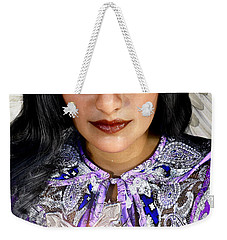 Weekender Tote Bag featuring the painting Indian Angel by Suzanne Silvir
