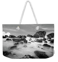 Indian Beach, Ecola State Park, Oregon, In Black And White Weekender Tote Bag