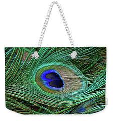 Indian Blue Peacock Macro Weekender Tote Bag
