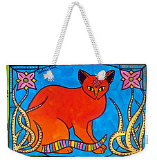 Indian Cat With Lilies Weekender Tote Bag
