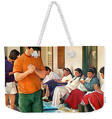 Weekender Tote Bag featuring the painting Indian Market by Donelli  DiMaria