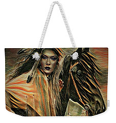 American Indian On Horse Weekender Tote Bag