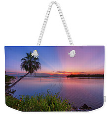 Weekender Tote Bag featuring the photograph Indian River State Park Bursting Sunset by Justin Kelefas