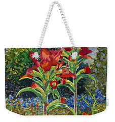 Weekender Tote Bag featuring the painting Indian Spring by Hailey E Herrera
