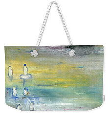Weekender Tote Bag featuring the painting Indian Summer Over The Pond by Michal Mitak Mahgerefteh