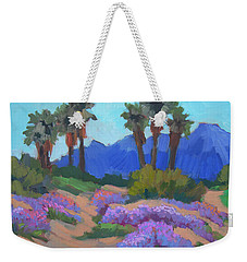 Weekender Tote Bag featuring the painting Indian Wells Verbena by Diane McClary