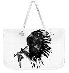 Weekender Tote Bag featuring the mixed media Indian With Headdress Black And White Silhouette by Marian Voicu