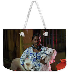 Weekender Tote Bag featuring the photograph Indian Woman And Her Dogs by Mike Reid