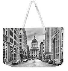 Weekender Tote Bag featuring the photograph Indiana State Capitol Building by Howard Salmon