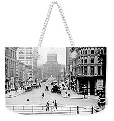 Weekender Tote Bag featuring the photograph Indianapolis, Indiana, Downtown Area, C. 1900, Vintage Photograp by A Gurmankin