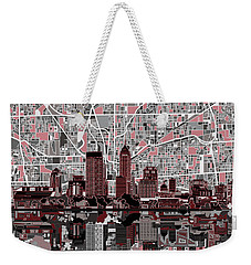 Indianapolis Skyline Abstract 1 Weekender Tote Bag by Bekim Art