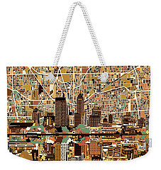 Indianapolis Skyline Abstract 2 Weekender Tote Bag by Bekim Art