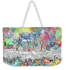 Indianapolis Skyline Watercolor 8 Weekender Tote Bag by Bekim Art
