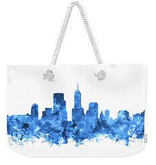 Indianapolis Skyline Watercolor Blue Weekender Tote Bag by Bekim Art