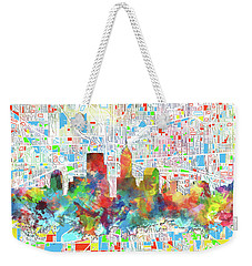 Indianapolis Watercolor Skyline Weekender Tote Bag by Bekim Art