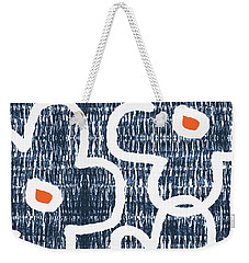 Weekender Tote Bag featuring the mixed media Indigo And White Jumbo Flowers- Art By Linda Woods by Linda Woods