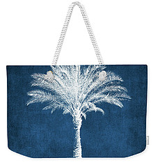 Indigo And White Palm Tree- Art By Linda Woods Weekender Tote Bag