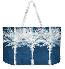 Indigo And White Palm Trees- Art By Linda Woods Weekender Tote Bag