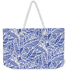 Indigo Batik Leaves Medium Weekender Tote Bag