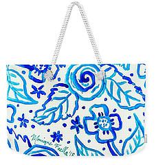 Indigo Blooms Weekender Tote Bag